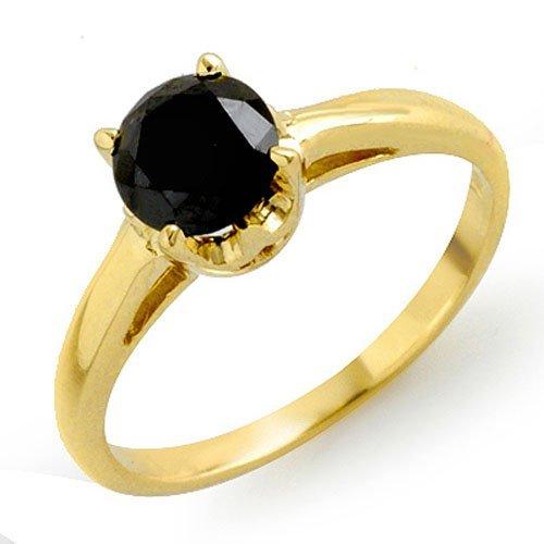 Natural 1.0 ctw Black Diamond Ring 14K Yellow Gold