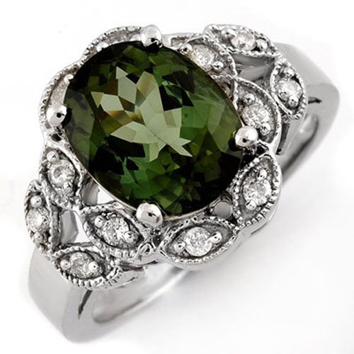 Genuine 3.75ct Green Tourmaline & Diamond Ring 10K Gold