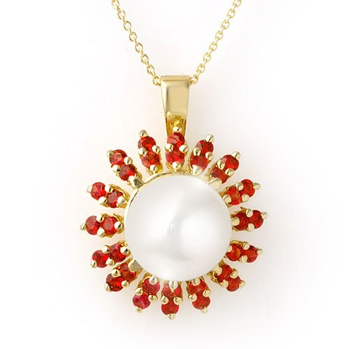Genuine 1.50 ctw Red Sapphire & Pearl Necklace 10K Gold