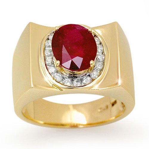 Genuine 3.33 ctw Ruby & Diamond Men's Ring 10K Gold