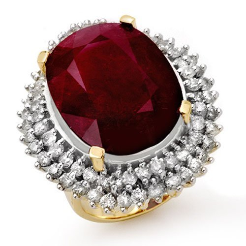 Genuine 31.12 ctw Ruby & Diamond Ring 14K Yellow Gold