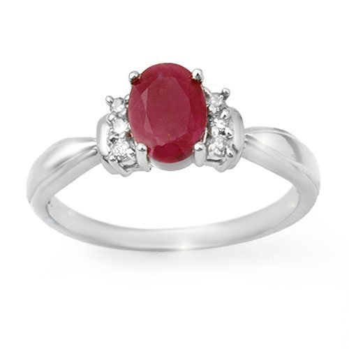 Genuine 1.35 ctw Ruby & Diamond Ring 14K White Gold