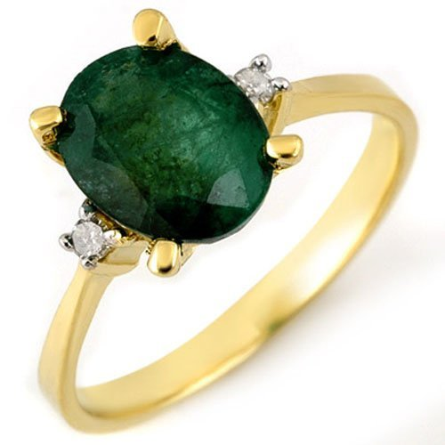 Genuine 1.54 ctw Emerald & Diamond Ring 14K Yellow Gold