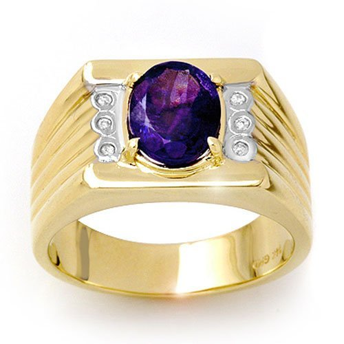 Genuine 2.56 ctw Tanzanite & Diamond Men's Ring Gold