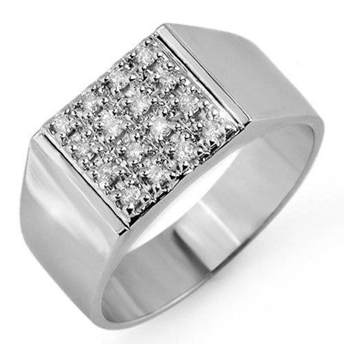 Natural 0.25 ctw Diamond Men's Ring 10K White Gold