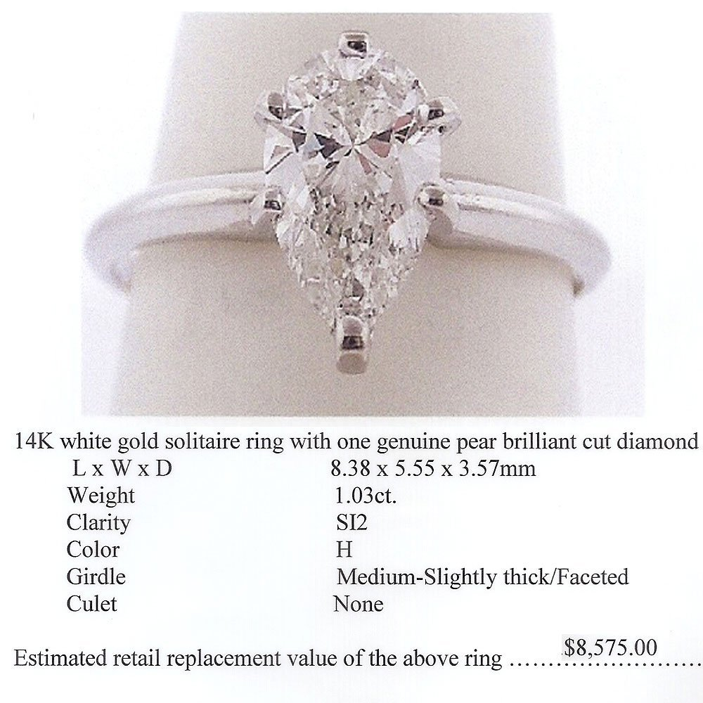 Natural 1.03ct Solitaire SI2 Diamond Ring 14K White