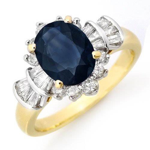 Genuine 2.13 ctw Sapphire & Diamond Ring Yellow Gold