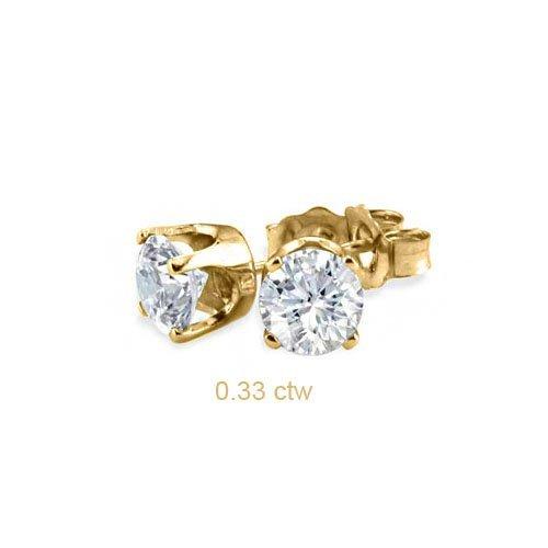 Natural 0.33 ctw Diamond Stud Earrings 14K Yellow Gold