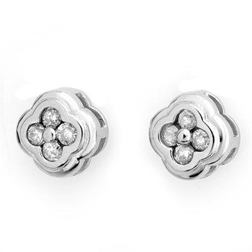 Natural 0.50 ctw Diamond Flower Earrings 14K White Gold
