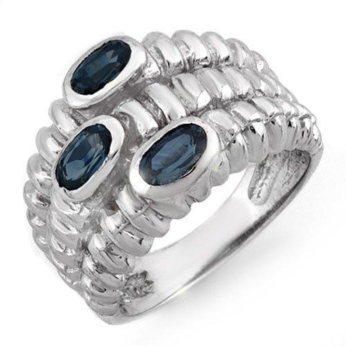 Genuine 1.25 ctw Blue Sapphire Ring 10K White Gold