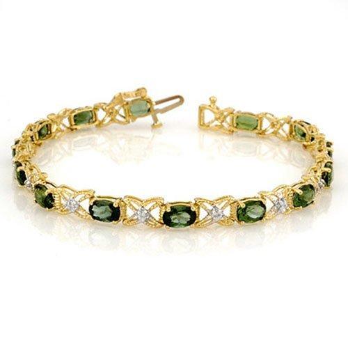Genuine 8.15 ctw Green Tourmaline & Diamond Bracelet -
