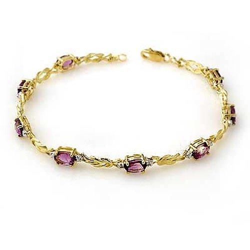 Genuine 3.73 ctw Amethyst & Diamond Bracelet 10K Gold