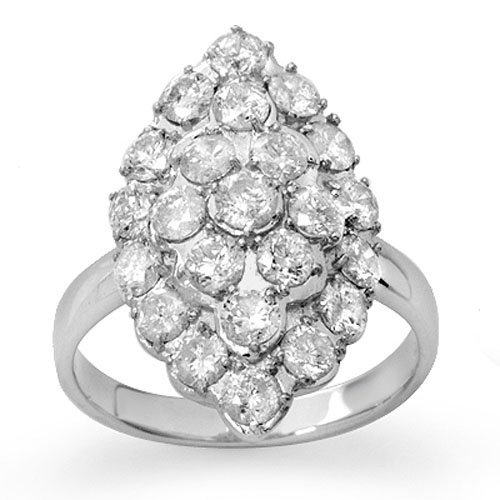 Natural 2.0 ctw Diamond Bridal Ring 14K White Gold