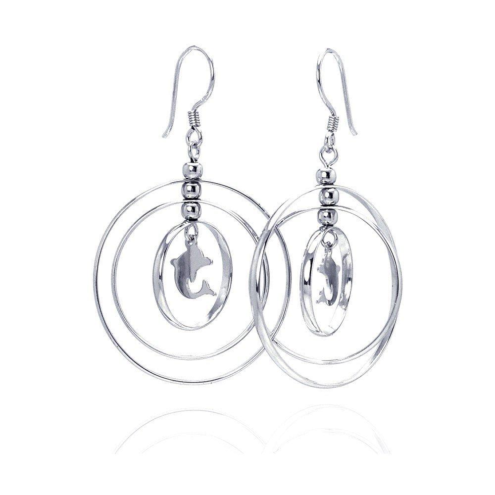 Silver Wire Earrings .925 Ladies Sterling Jewelry
