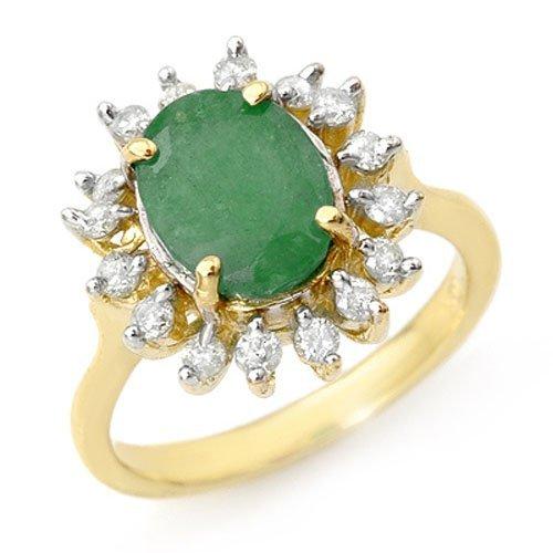 Genuine 3.1 ctw Emerald & Diamond Ring 10K Yellow Gold