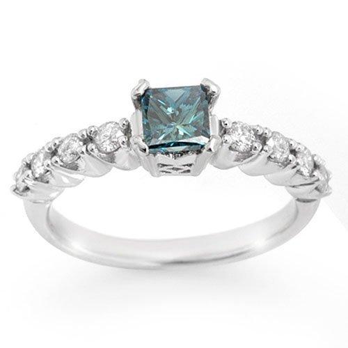 Natural 0.90 ctw Blue Diamond Ring 14K White Gold