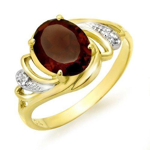 Genuine 2.03 ctw Garnet & Diamond Ring 10K Yellow Gold