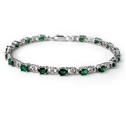 Genuine 5.02 ctw Emerald & Diamond Bracelet White Gold