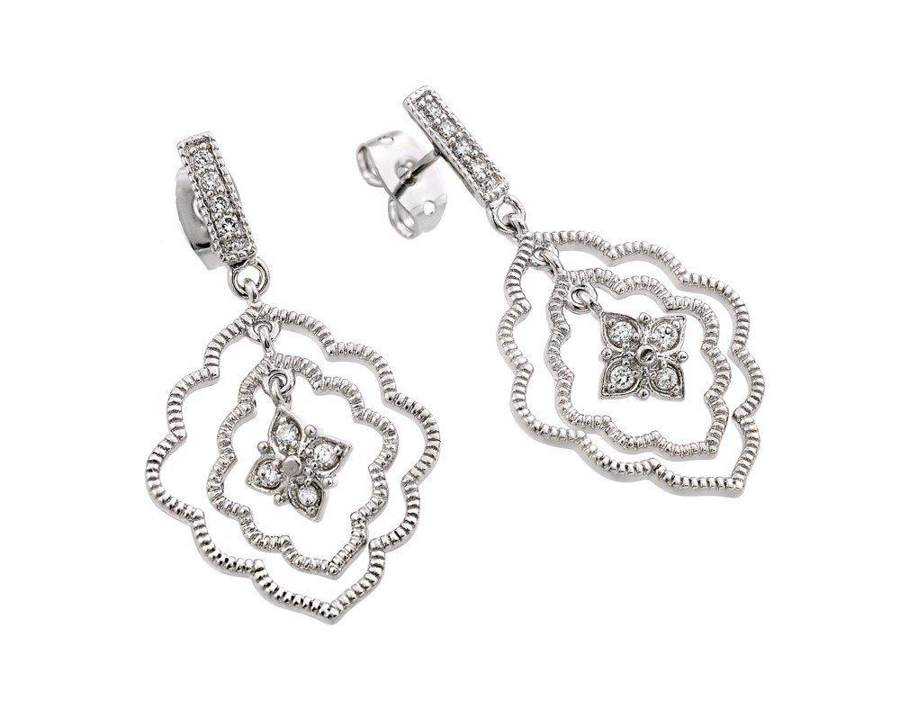 Silver Earrings .925 Ladies Sterling Jewelry bge00355