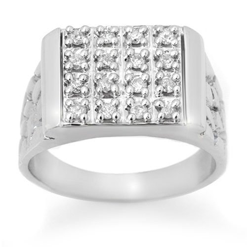 Natural 0.50 ctw Diamond Men's Ring 10K White Gold