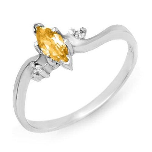Genuine 0.29 ctw Citrine & Diamond Ring 10K White Gold