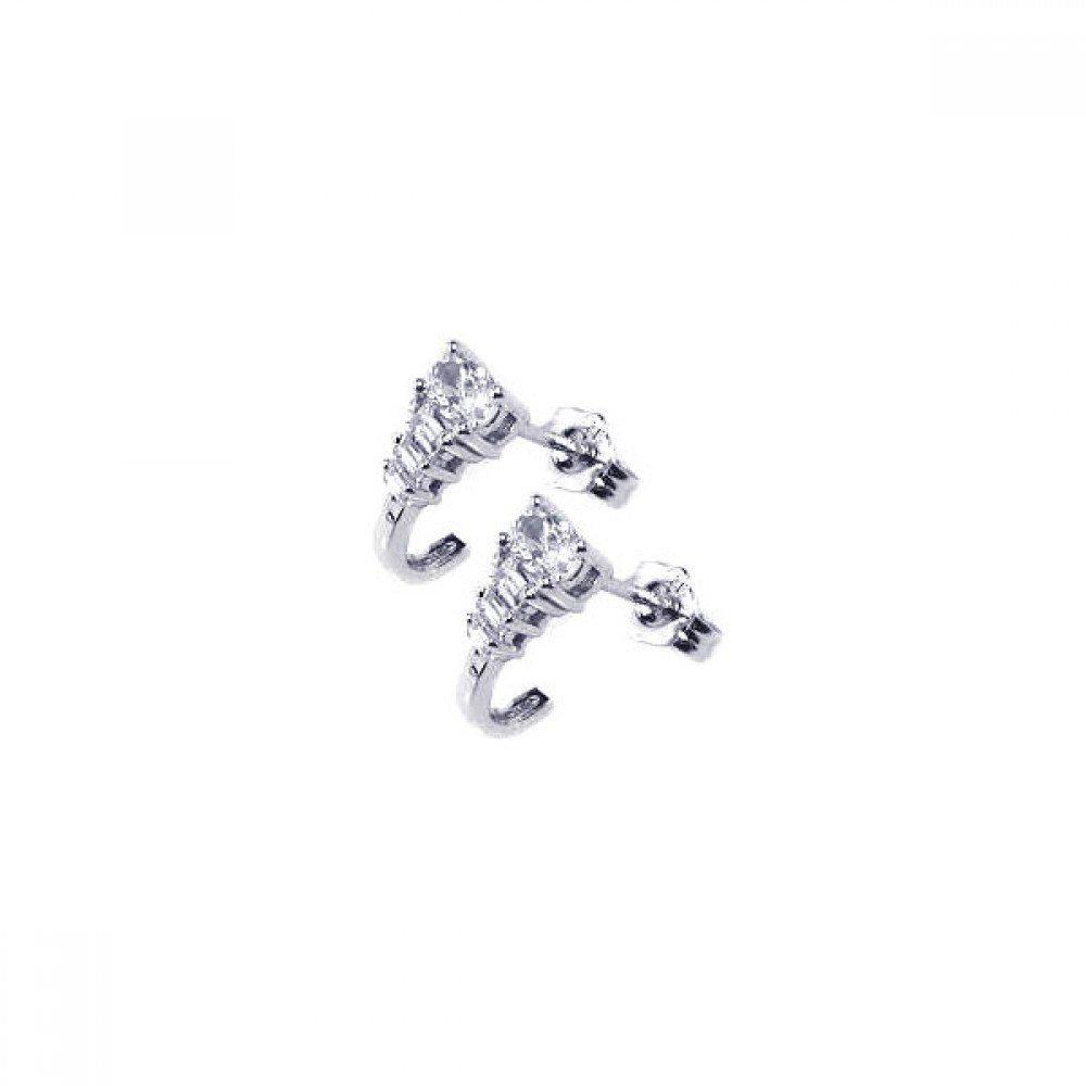 Silver CZ Stud Earrings .925 Sterling Jewelry ace00026
