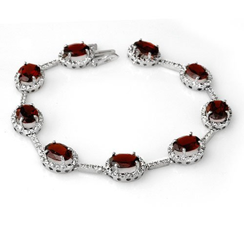 Genuine 16.33 ctw Garnet & Diamond Bracelet White Gold