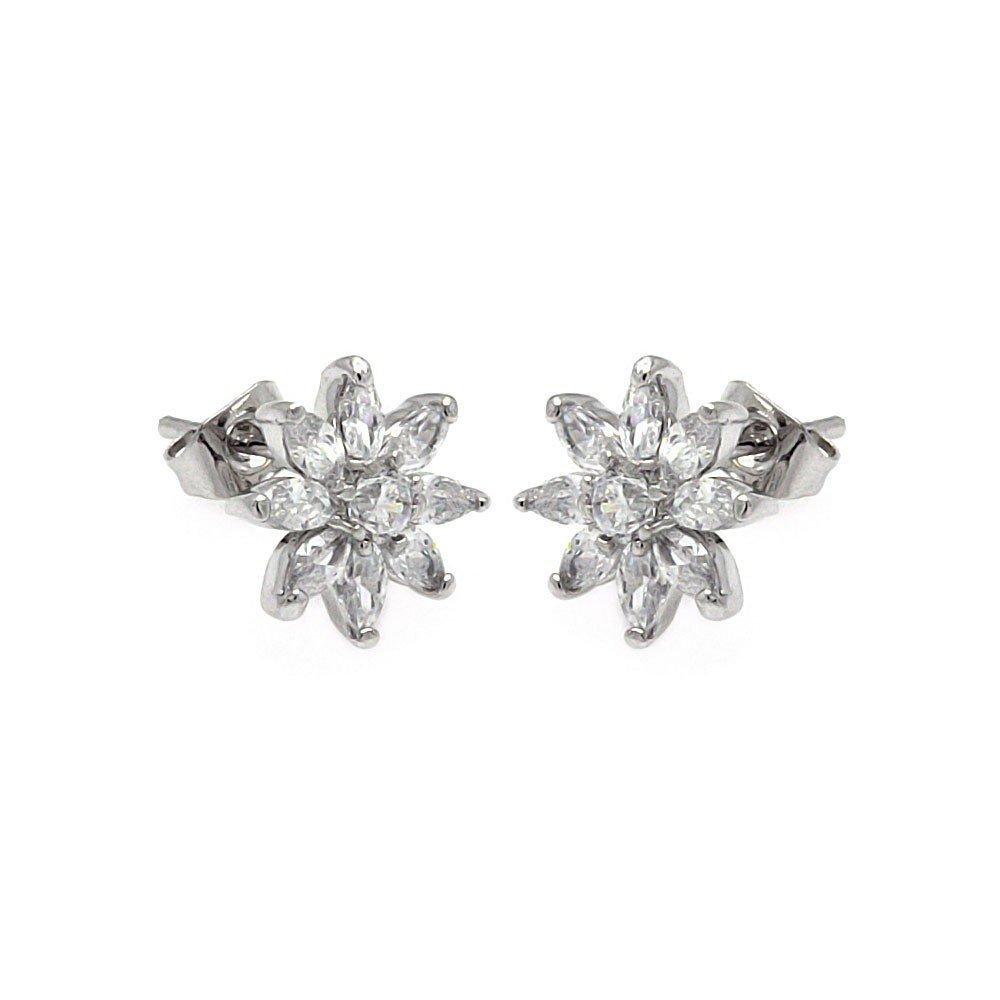 Silver CZ Stud Earrings .925 Sterling Jewelry bge00246