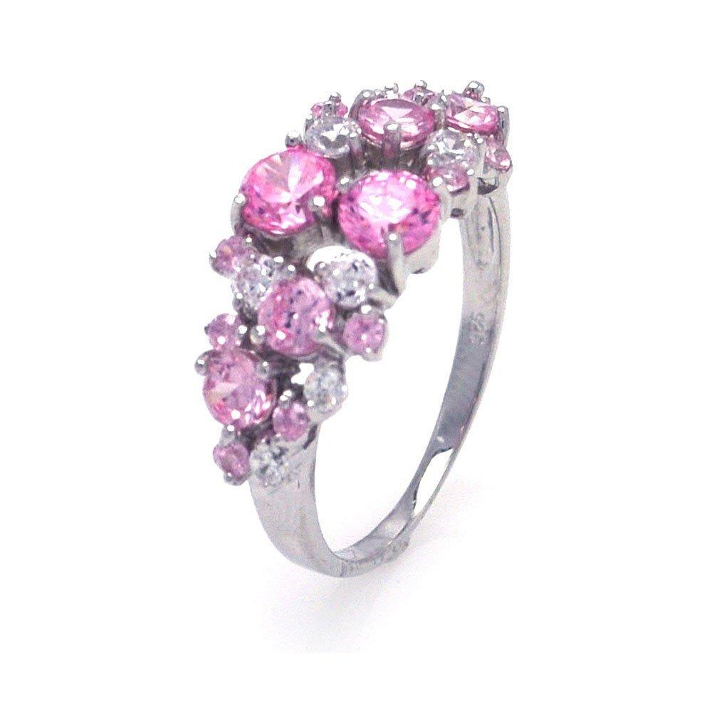 Silver Rings CZ .925 Ladies Sterling Jewelry aar0012pnk