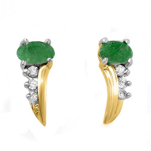 Genuine 0.6 ctw Emerald & Diamond Earrings 10k Gold