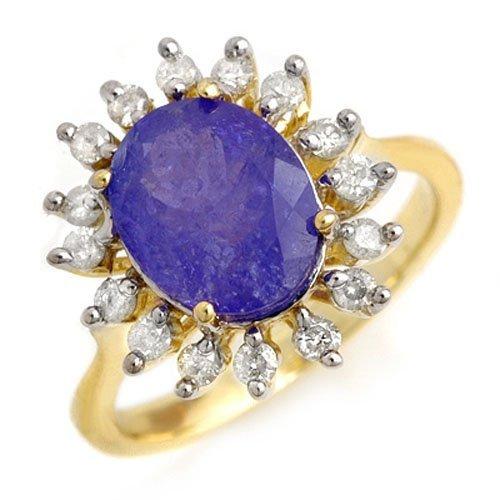Genuine 3.05ctw Tanzanite & Diamond Ring 10K Yellow