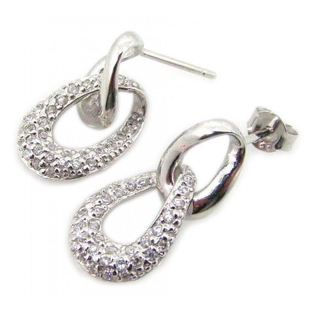 Silver Earrings .925 Ladies Sterling Jewelry ste00563
