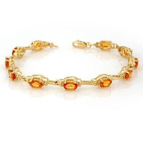 Genuine 8.0 ctw Yellow Sapphire Bracelet 10K Yellow