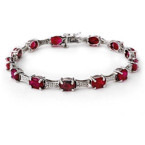 Genuine 14.54 ctw Ruby & Diamond Bracelet White Gold