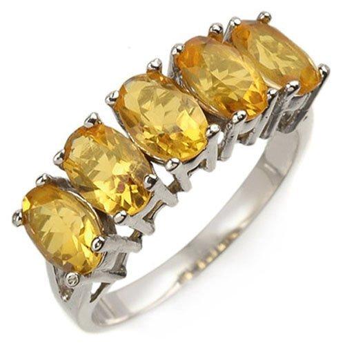 Genuine 2.0 ctw Citrine 5-stone Ring 10K White Gold