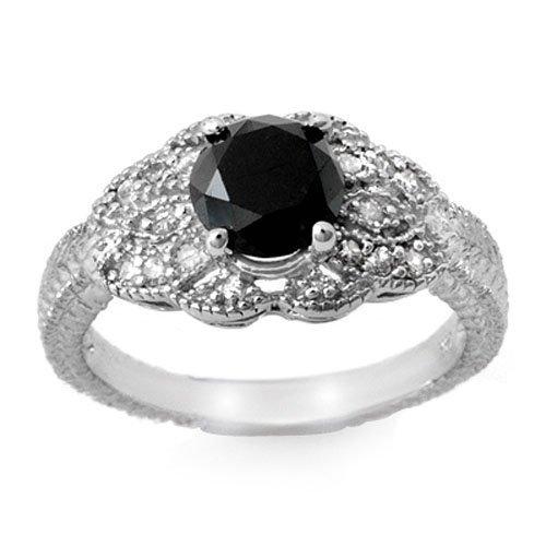 Natural 1.75 ctw White & Black Diamond Ring 14K Gold