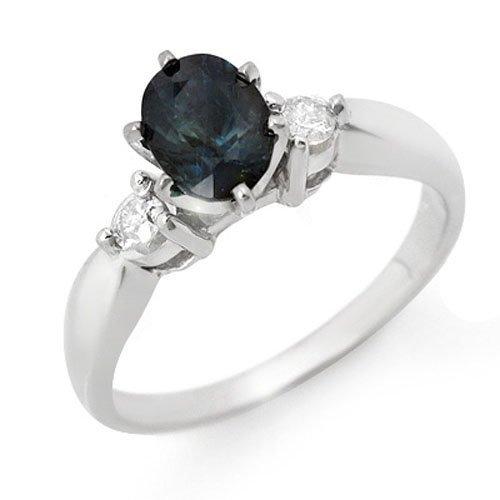 Genuine 1.45 ctw Sapphire & Diamond Ring 14K White Gold