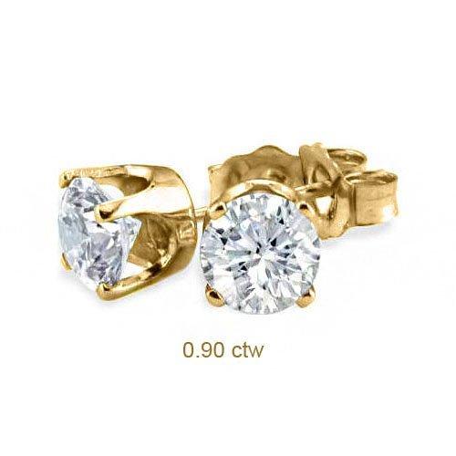 Natural 0.90 ctw Diamond Stud Earrings 14K Yellow Gold