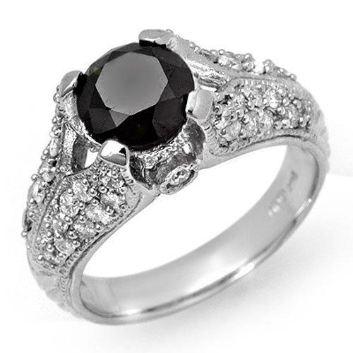 Natural 2.55 ctw White & Black Diamond Ring 14K White