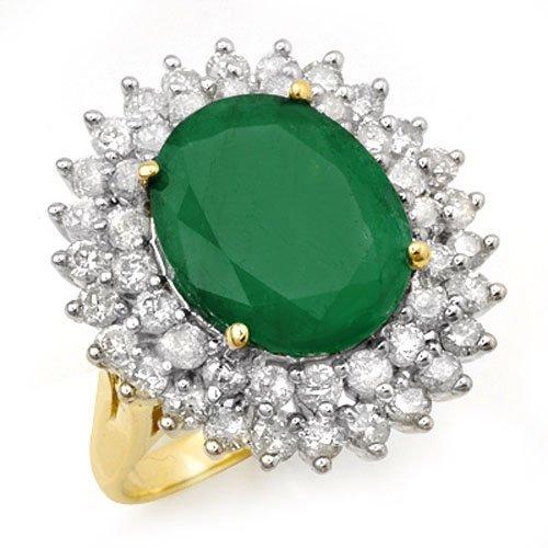 Genuine 10.83 ctw Emerald & Diamond Ring 14K Yellow