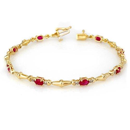 Genuine 2.75 ctw Ruby & Diamond Bracelet Yellow Gold