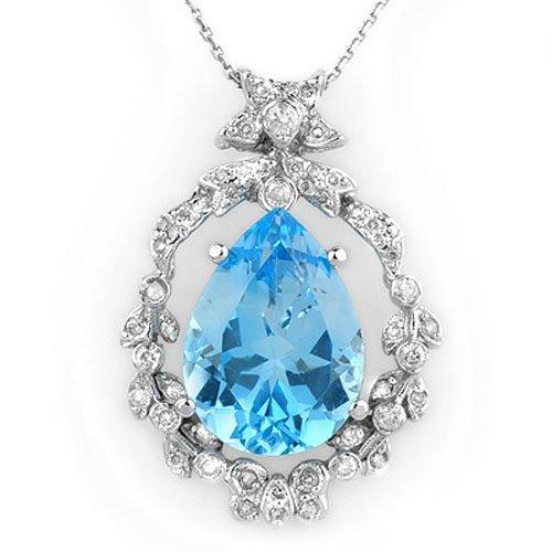 Genuine 13.84ctw Blue Topaz & Diamond Necklace 14K Gold
