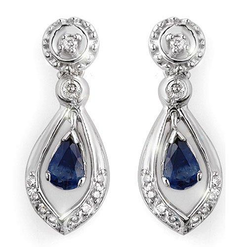 Genuine 1.36 ctw Blue Sapphire & Diamond Earrings Gold