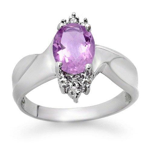 Genuine 1.14ctw Amethyst & Diamond Ring 10K White Gold