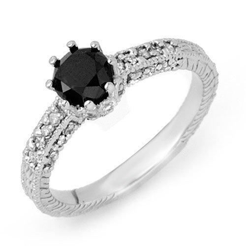 Natural 1.20 ctw Black Diamond Ring 14K White Gold