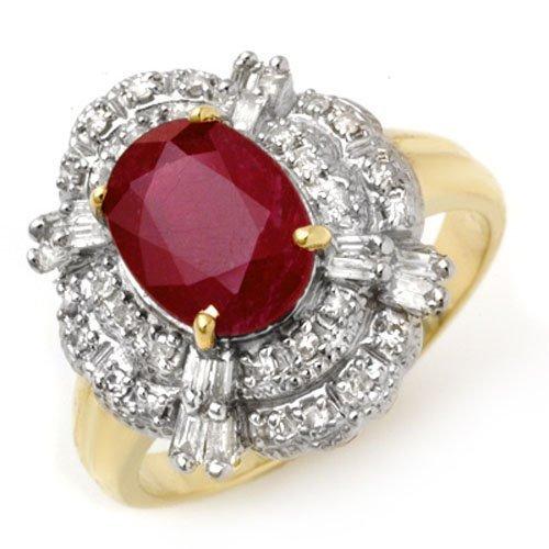Genuine 2.84 ctw Ruby & Diamond Ring 14K Yellow Gold