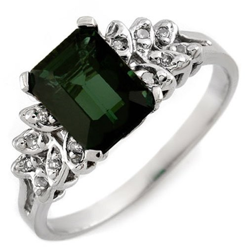 Genuine 2.12 ctw Green Tourmaline & Diamond Ring 10K