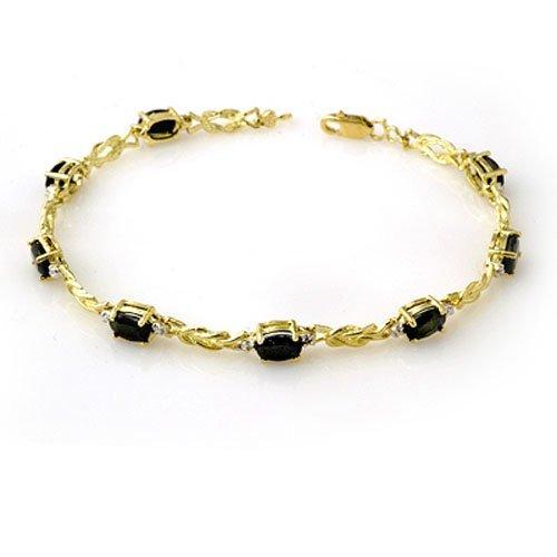 Genuine 5.32 ctw Sapphire & Diamond Bracelet 10K Gold