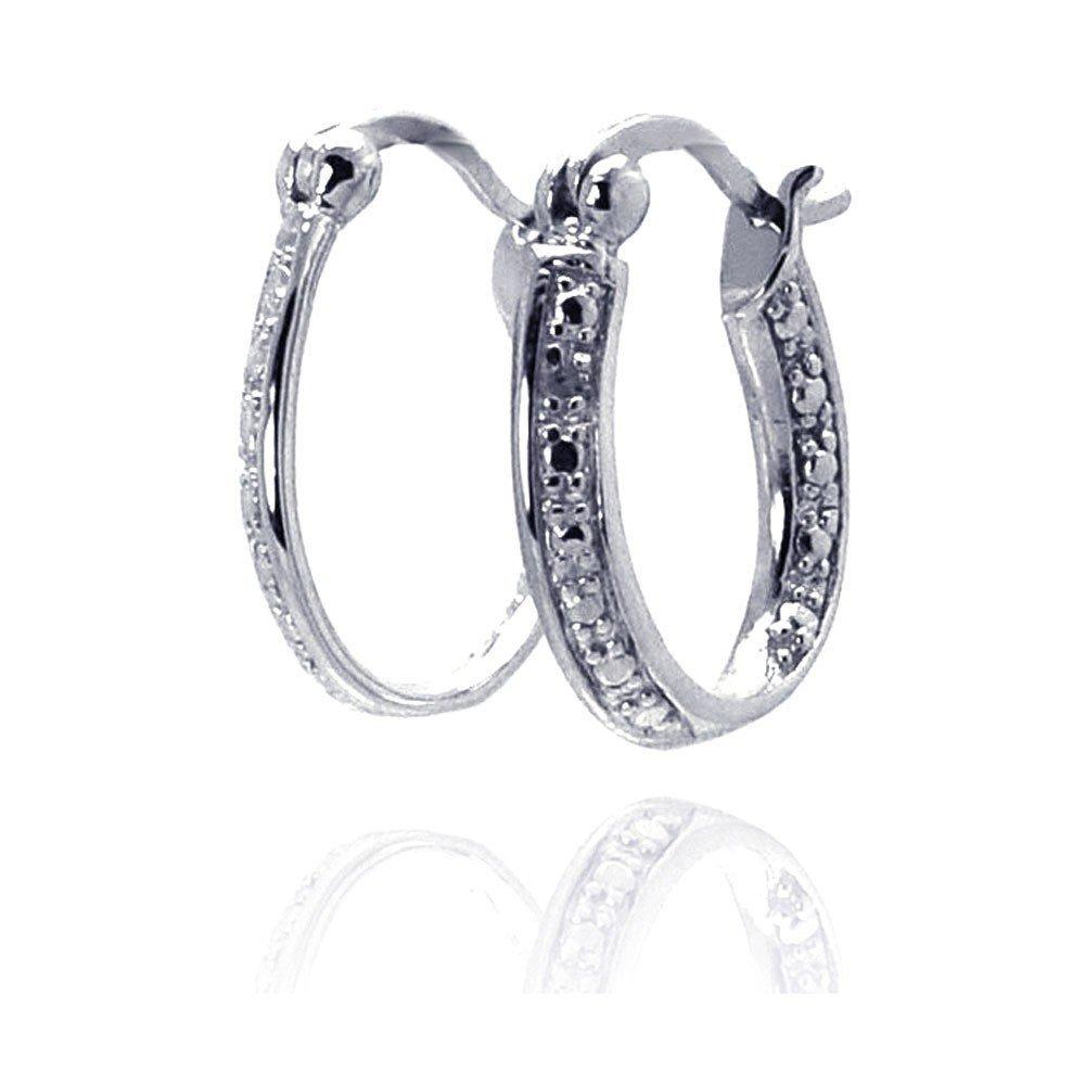 Silver Diamond Earrings .925 Sterling Jewelry ste00692