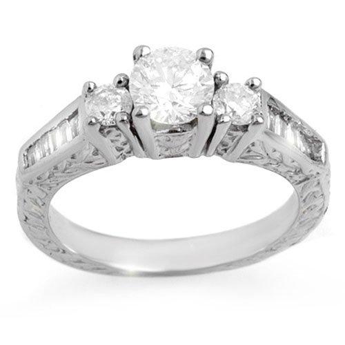 Natural 1.01 ctw Diamond Ring 14K White Gold
